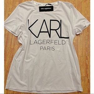 Karl Lagerfeld White Graphic Logo T-shirt